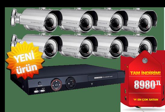 8 Kameralı Güvenlik Sistemi